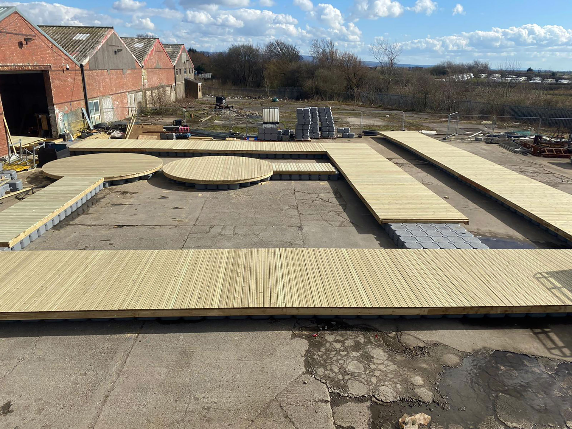floating pontoon system covered with a wood deck