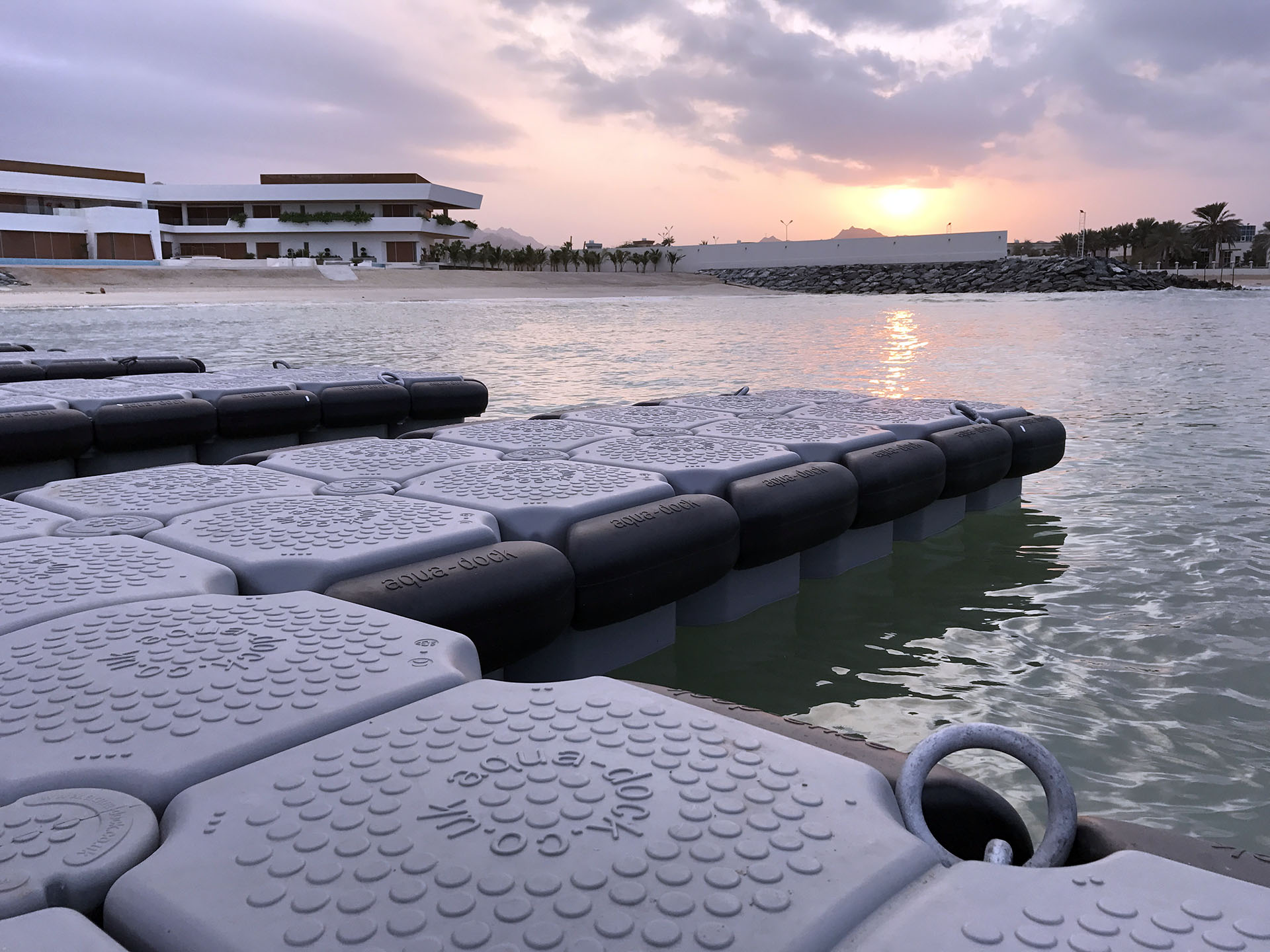 close up of floating dock in the sunset