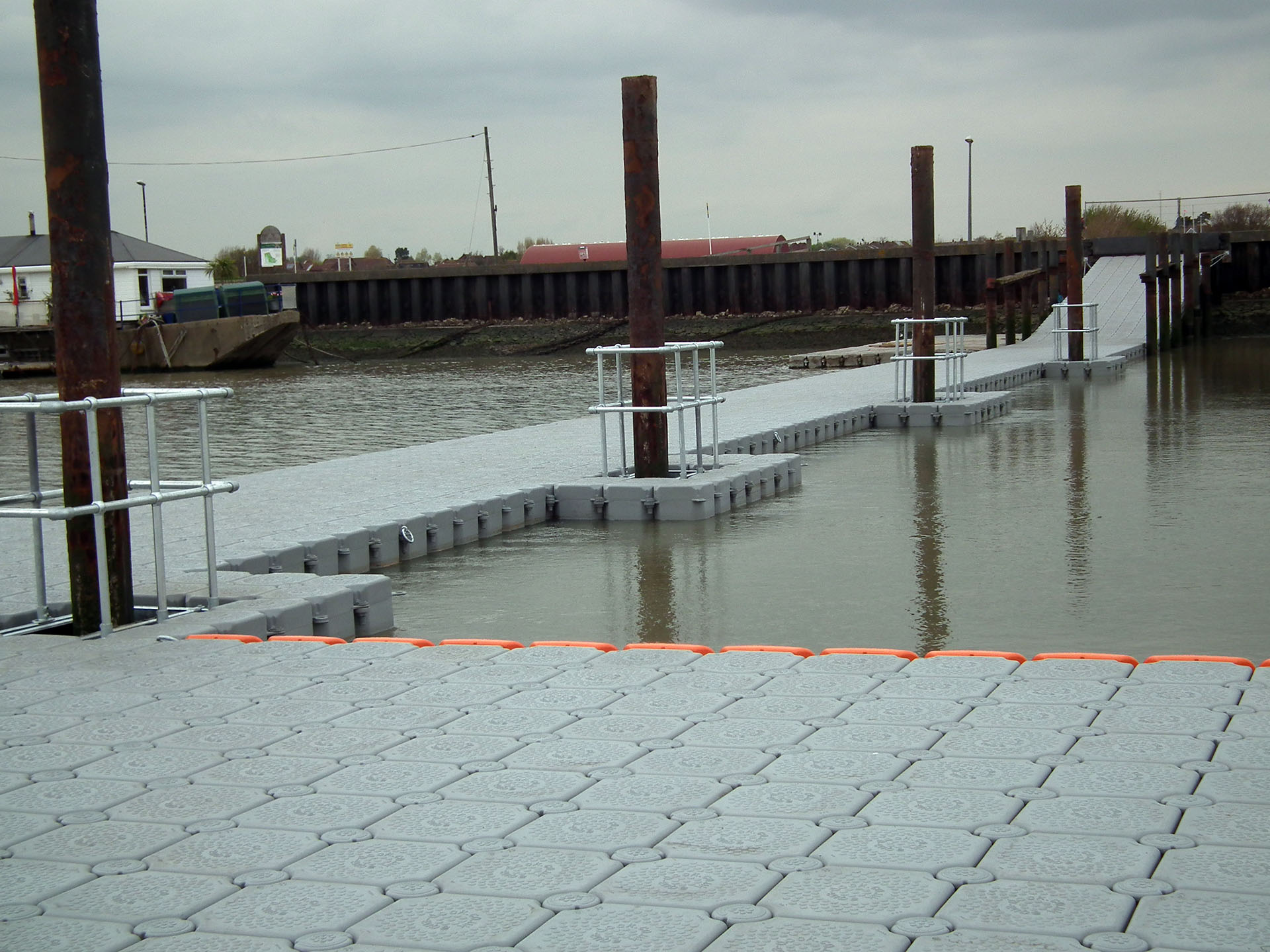floating walkway and platform for installing supports